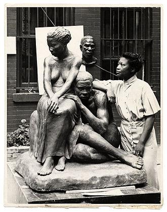 Augusta Savage - Augusta Savage with sculpture, 1938