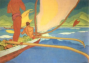 History of Madagascar - Men in an Outrigger Canoe Headed for Shore, an oil painting by Arman Manookian depicting the Vezo people, c. 1929