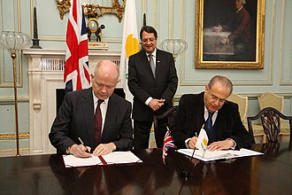 Cyprus–United Kingdom relations - Arrangement on non-military development in the SBAs signed by British Foreign Secretary William Hague and Cypriot Foreign Minister Ioannis Kasoulidis in London in January 2014.
