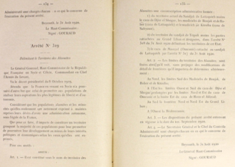 Alawite State - Arrete No 319 creating the Alawite State, 1920