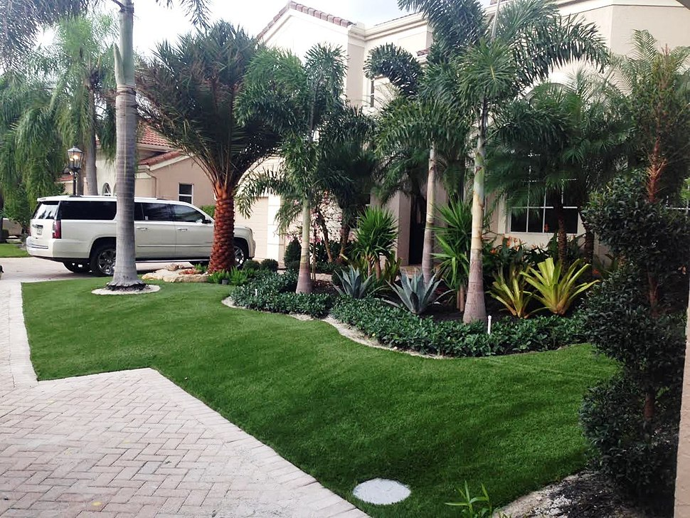 Artificial grass in the front yard