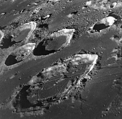 A portion of the lunar near side; the large crater in the bottom half of the photo is Goclenius.