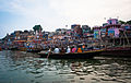 Assembly of boats in Dasashwamedh Ghat in the evening before Arati, Varanasi 01.jpg