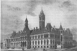 Alfred Waterhouse - The Manchester Assize Courts, irreparably damaged in World War II, and subsequently demolished