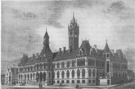 The Manchester Assize Courts, irreparably damaged in World War II, and subsequently demolished Assize Courts, Manchester.jpg