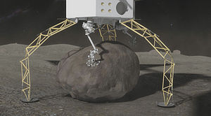 Asteroid Redirect Mission - Asteroid grippers on the end of the robotic arms are used to grasp and secure a 6 m boulder from a large asteroid. An integrated drill would be used to provide final anchoring of the boulder to the capture mechanism.