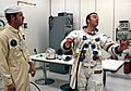 Astronaut Alan Shepard suit-up for launch of the Apollo 14 mission.jpg