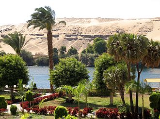 El Nabatat Island - View on El Nabatat Island of the Aswan Botanical Garden and west bank of Nile.