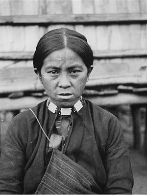 Austronesian peoples - An Atayal tribal woman from Taiwan with tattoo on her face as a symbol of maturity, which was a tradition for both males and females.