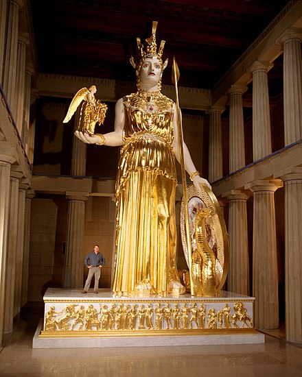 Reproduction of the Athena Parthenos statue at the original size in the Parthenon in Nashville, Tennessee. Athena Parthenos LeQuire.jpg