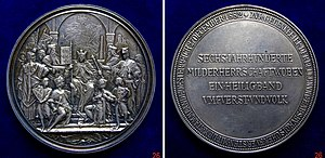 Rudolf I of Germany - Hoftag Augsburg 1282. Austrian medal commemorating the 600th anniversary the Habsburg Monarchy.