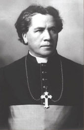 A man wearing a clerical collar and pectoral cross around his neck faces towards the right.