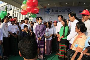 BarCamp - Aung San Suu Kyi gives speech during BarCamp Yangon 2012