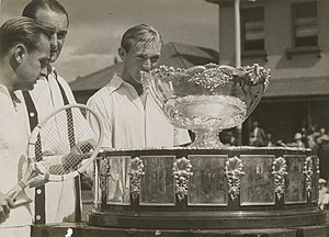 1939 International Lawn Tennis Challenge - John Bromwich and Adrian Quist with the Davis Cup trophy in Sydney, November 1939