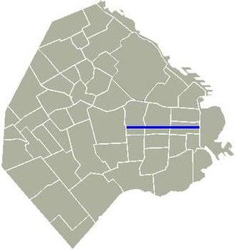 Avenida Belgrano - Location of Avenida Belgrano in Buenos Aires.
