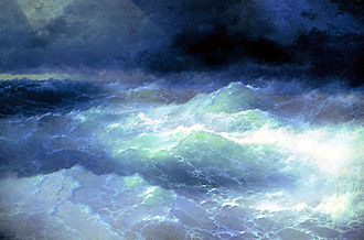 Ivan Aivazovsky - The vast majority of his works depict the sea. Pictured is a 1898 painting titled Among the Waves, Aivazovsky National Art Gallery, Feodosia