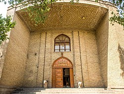 Azerbaijan Museum, Tabriz, Iran, and stone lions in entrance.jpg