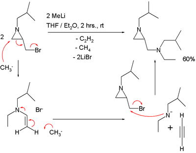 conversion of 1-alkyl-2-(bromomethyl)aziridines into 1-alkyl-2-(N-alkyl-N-ethylaminomethyl)aziridines