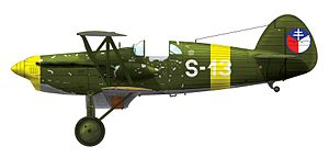 Slovak Insurgent Air Force - Avia B.534.217 of Combined Squadron, on which Frantisek Cyprich shot down a Hungarian Junkers Ju 52/3m