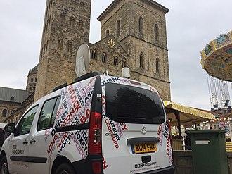 BBC Radio Derby - BBC Radio Derby's satellite van pictured in Osnabrück - Derby's twin city.