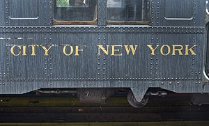 "New York City Board of Transportation - The side of an Arnine, an original IND subway car purchased by the BOT, bearing the name ""City of New York""."
