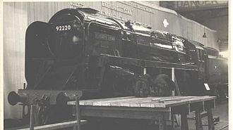 1960 in rail transport - March: 92220 ''Evening Star'' at Swindon Works soon after naming