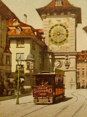 Trams in Bern - The Lufttram in a hand coloured postcard.