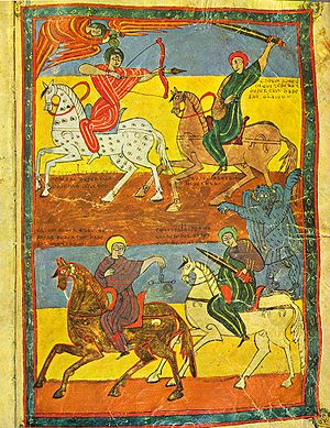 Mozarabs - Page of Beato de Valladolid, representing the Apocalypse. 10th century