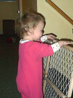 A baby peeking over the top of a baby gate.