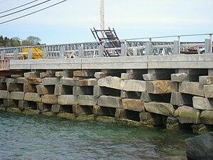 Box crib - Bailey Island Bridge, Harpswell, ME. The only granite cribstone bridge in the world.