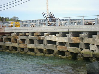 Box crib - Bailey Island Bridge, Harpswell, ME. The only granite cribstone bridge in the world.