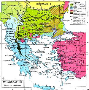 Vlachs of Serbia - Ethnic map of the Balkans prior to the First Balkan War, by Paul Vidal de la Blache.