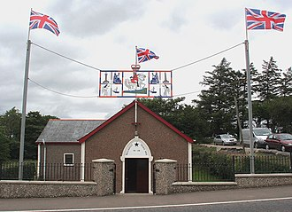 Orange Order - An Orange Hall in Ballinrees bedecked with Union Flags.