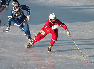 Bandy Ballgame on ice played using skates and sticks