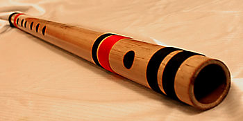 Bansuri, a bamboo flute popular in India. The ...
