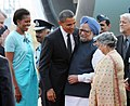Barack Obama and the First Lady Mrs. Michelle Obama being welcomed by the Prime Minister, Dr. Manmohan Singh and his wife Smt. Gursharan Kaur, on their arrival, at Palam Air Force Station, in New Delhi on November 07, 2010.jpg