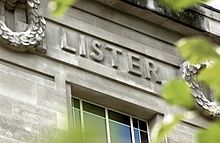 Image of Lister's name on the London School of Hygiene & Tropical Medicine, in Keppel Street
