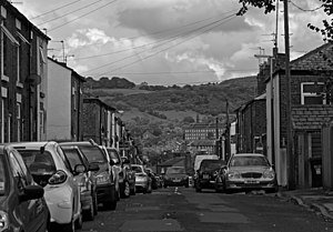 Control (2007 film) - Image: Barton St, Macclesfield, in imitation of Control grayscale