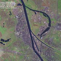 satellite image (Landsat 7 false colour) of th...
