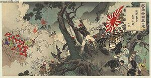 Battle of Seonghwan - Ukiyoe, by Mizuno Toshikata, dated August 1894
