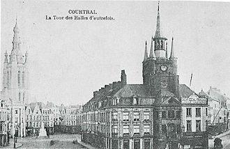 Belfry of Kortrijk - The Belfry with the Old Cloth Halls in 1897