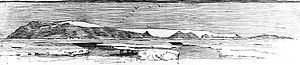 Bennett Island - drawing of Bennett Island, discovered north of Siberia by the Jeannette Expedition, July 1881
