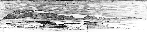drawing of Bennett Island, discovered north of Siberia by the Jeannette Expedition, July 1881