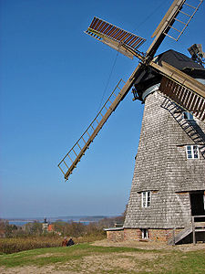 Usedom Island, Germany - Windmill, Benz village and a lake in the background