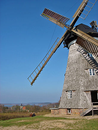 Schmollensee - Old windmill of Benz (Usedom), lake Schmollensee in the background