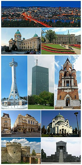 Belgrade montage. Clicking on an image in the picture causes the browser to load the appropriate article.