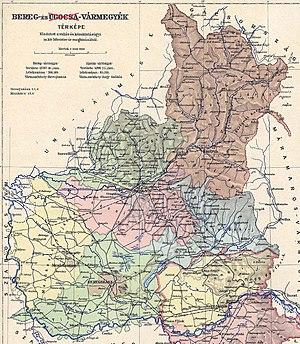 Bereg County - Image: Bereg county administrative map