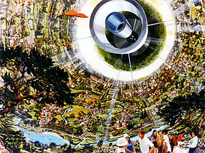 Space colonization - Artist's conception of the interior of a Bernal sphere