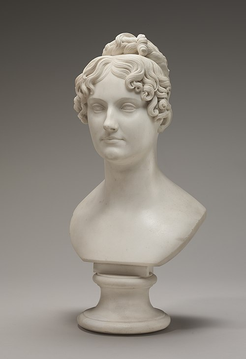 Bust, probably of Georgiana Bingham; carved in circa 1821/1824; Carrara marble; overall without base: 52.39 x 27.31 x 22.86 cm; National Gallery of Art (Washington D.C.) Bertel Thorvaldsen, Possibly Lady Georgiana Bingham, carved c. 1821-1824, NGA 156639.jpg
