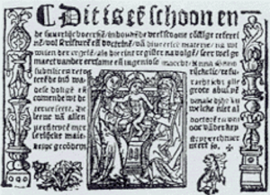 Medieval Dutch literature - Title page of Anna Bijns' first volume of Refereinen (1528).